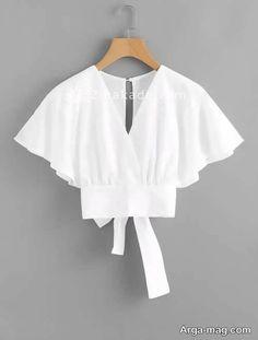 آموزش دوخت لباس مجلسی کوکب : کوکب : صفحه 241 - زیباکده Bow Tie Blouse, White Blouse Outfit, Crop Blouse, Fashion Dresses, Fashion Clothes, Batwing Sleeve, Mode Inspiration, Mode Style, Types Of Sleeves