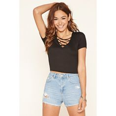 Forever 21 Women's  Crisscross-Front Top (590 DOP) ❤ liked on Polyvore featuring tops, short sleeve tops, front criss cross crop top, v neck crop top, crop top and v neck top