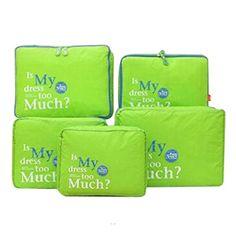 5 Stück Tragbare Nylon Organizer Tasche Aufbewahrungsbox Aufbewahrungsbeutel Lagerung Packer Büstenhalter,Unterwäsche,Krawatte,Socken für Urlaub Reisen Storage Bags,grün