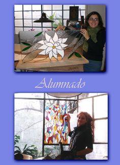 """Alumnado.Arriba, alumna, con su primer vitraux en Tiffany.Abajo,primer vitraux en Tiffany;""""Mujer de Fuego"""""""
