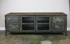 Vintage Industrial Buffet/credenza. Reclaimed Wood Top & Steel. Great…