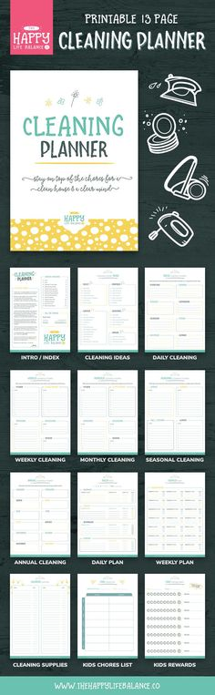 Get on top of your housework with this 13-page cleaning and chore planner.     Having a plan of action for the whole family is a great way to get jobs done in an organised and fair way.     Get the kids involved with their own chore planner and reward chart!