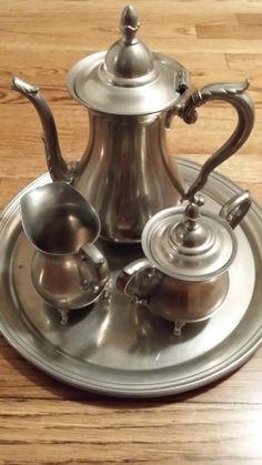 4 Piece Preismer Pewter Tea Set 2061 by RobsVintageTreasures, $50.00