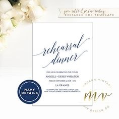 Modern square wedding invitation template 525 x 525 editable rehearsal dinner invitation template 5x7 navy blue invite editable template modern minimal blue calligraphy modern vintage diy a084 stopboris Image collections