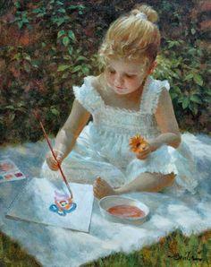 Little watercolor artist ► Joe Bowler, 1928 (summer, flower, illustration, art)