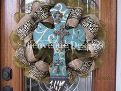 Animal Print Burlap Mesh Wreath With Cross.