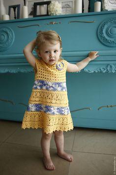 Купить Платье для девочки вязаное крючком Желтые Хризантемы - детская одежда, детское платье