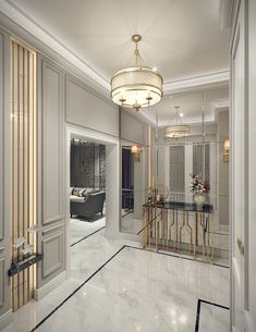 Modern Classic Villa Interior Design 17 - A luxurious entrance hallway of modern . - Modern Classic Villa Interior Design 17 – A luxurious entrance hall of modern … – House – L - Classic Interior Design, Modern Interior, Luxury Home Decor, Luxury Living Room, Modern Interior Design, Modern House, Floor Design, House Interior, Modern Classic Interior