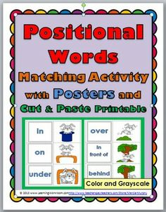 Positional Words Matching Activity with Posters and Printable (color + grayscale)