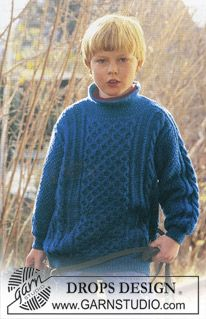 boy knit  Jumper  sweater with cable pattern Karisma Superwash ~ DROPS Design