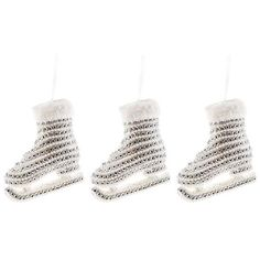 White Pearl & Gem Ice Skate Ornaments