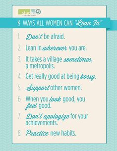 Eight ways all women can Lean In. Watch the story today on Studio 5 at 1 p.m. #leanin