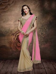 Pink and Beige Silk Saree with Embroidery Work