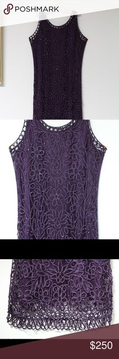 Soulmates Beaded lace embroidered dress w/ jacket Eggplant/deep purple beaded lace dress with lining and jacket. Pure silk lining and lace. Soulmates brand. Very elegant for a special party or wedding. Questions and offers welcome. Larger size can also wear.NWOT Dresses Maxi