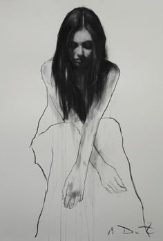 Mark Demsteader - Bethany seated 2, pastel & collage, 46ins x 32ins.