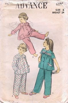 1940s Advance 4180 Vintage Sewing Pattern Girls by midvalecottage