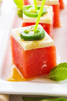 Watermelon Jalapeno Cubes with Honey Lime Dressing Recipe