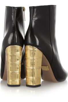 Michael Kors | Stella leather and metallic croc-effect ankle boots | NET-A-PORTER.COM