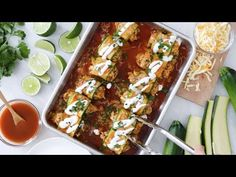 Low-Carb Chicken Enchilada Roll Ups are made with zucchini in place of tortillas! Delicious, and perfect for Keto, gluten-free or low-carb diets. Skinny Recipes, Ww Recipes, Mexican Food Recipes, Low Carb Recipes, Cooking Recipes, Healthy Recipes, Cooking Games, Light Recipes, Keto Dinner