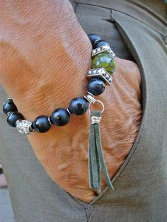 Men's Spiritual Strength, Fortune Protection Bracelet with Semi Precious Matte Onyx, Dragon Vein Green Agate, Leather Tassel, Bali Beads by tocijewelry on Etsy