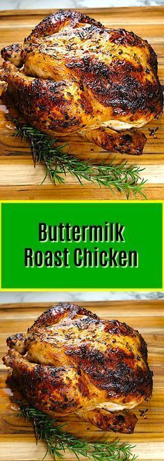 Buttermilk Marinated Roast Chicken Marinating a chicken overnight in buttermilk and spices is a very traditional method in the southern USA prior to frying The buttermilk. Quick Recipes, Cooking Recipes, Healthy Recipes, Cooking Games, Cooking Videos, Cooking Classes, Carnivore, Tomato Cream Sauces, Rosemary Chicken