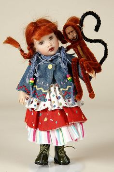 """7.5"""" Little Pippi and Monkey doll, from the Story Book Series, designed by Helen Kish, United States, 2007, by Kish & Co."""