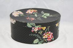 Hannah's Treasures Vintage Wallpaper Bandbox ( Shallow Bonnet Box) Pink floral on Black