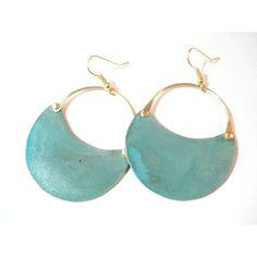 Patina Copper Hoop Earrings Green Blue Verdigris Riveted Earrings Cold... ($32) ❤ liked on Polyvore featuring jewelry, earrings, earring jewelry, blue earrings, copper earrings, green jewelry and blue jewelry