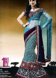 Trendy and comfortable ready to wear saree in designer collection will definetly give you the style statement. This is Firozi, Wine Net, Crushed Jacquard One Minute Saree with BlouseThe Rejunivative color with pattern border. It has Jecard Blouse. The unstitched matching blouse material can be customised as per the requirement limited to availability of material. Available blouse material length is 80 cm. Slight variation in color or patch may be possible due to photography effect.