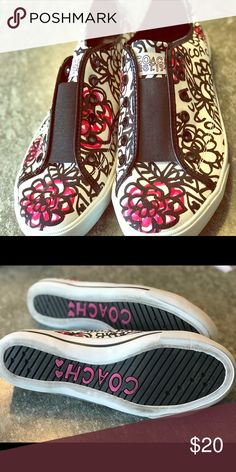 Shoes Adorable Coach sneakers pink black and whit with floral design. Very cute probably worn twice Coach Shoes Sneakers