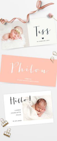 Mooie zachte panorama en fotokaarten voor een meisje! Een super stijlvol en schattig geboortekaartje!