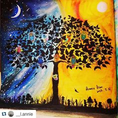 Instagram media desenhoscolorir - Olha só uma versão diferente de uma pintura que eu fiz. Amei! #Repost @__l.annie with @repostapp ・・・#desenhoscolorir 《昼夜》#秘密花园 #secretgarden #jardimsecreto #johannabasford