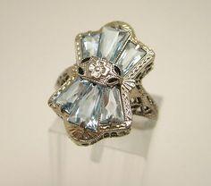 aquamarine art deco ring - I love this ring!