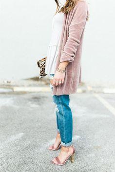 Spring Outfit Inspiration ft. Pink Cardigan, Distressed Boyfriend Jeans, Steve Madden Sandals, Leopard Clutch