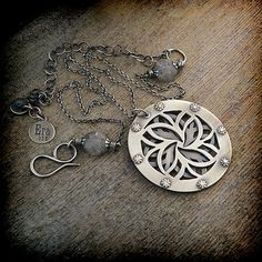 2-layers hand-pierced, riveted, sterling silver flora pendant necklace