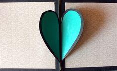 Heart lock accordion card, open flap