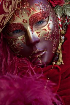 red & gold mask