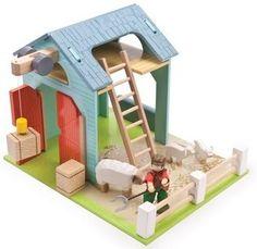 Granja de juguete de madera con ovejas en El País de los Juguetes 44'95€