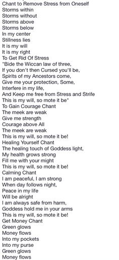 Book of Shadows:  #BOS Simple Chants 6 page.