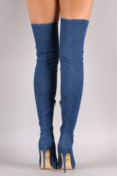 These over-the-knee boots feature a fabric denim upper and thin stiletto denim covered heel. Finished with a cushioned insole, and partial side zipper closure for easy on/off. Thigh High Boots, High Heel Boots, Over The Knee Boots, Heeled Boots, Stiletto Heels, Shoes Heels, Stilettos, Hot High Heels, Sexy Boots