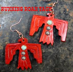 Red Leather Thunderbird Earrings with Turquoise and Copper Patina Dots by Running Roan Tack