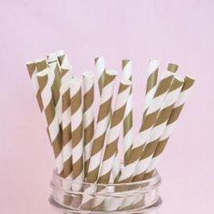 ペーパーストロー(25本入り)<br>【Gold Stripe】