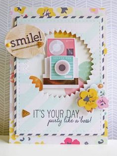 Crate Paper standouts - Smile! card