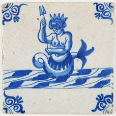 Antique Dutch Delft tile with a crowned mermaid, century Art Deco Diamond, Diamond Brooch, South Indian Jewellery, Gold Jewellery, Delft Tiles, 17th Century Art, Antique Tiles, Clay Tiles, Friend Tattoos
