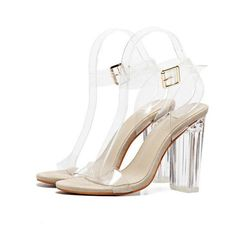 Women Sandals Ankle Strap Perspex High Heels PVC Clear Crystal Concise Classic Buckle Strap High Quality Fashion Shoes size35-41