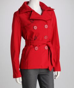 Dollhouse Red Belted Peacoat by Dollhouse #zulily #zulilyfinds
