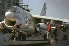 """US Navy – Ling-Temco-Vought  A-7E-13-CV Corsair II (Bu 158834) Attack Squadron Twenty Seven (VA-27) """"Royal Maces"""" with Carrier Air Wing 14 (CVW-14) Ready for Launch Aboard the Aircraft Carrier """"USS CORAL SEA"""" (CV-43) 1980 – Armament: Mk 82 High Drag Bombs"""