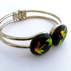 Hinged Bangle Bracelet with Dichroic Dragonflies by 3DGlassDesigns