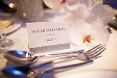 glamorous and sparkly place card for black tie wedding in Arizona, photos by Jennifer Bowen Photography | junebugweddings.com