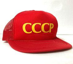 114dccd732279 vtg CCCP TRUCKER HAT red yellow USSR russia soviet union rare 80s 90s  men women  Supreme  Trucker